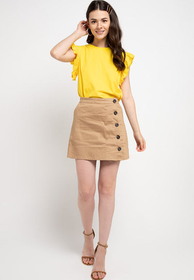 Tee with Ruffle Sleeve - Mustard