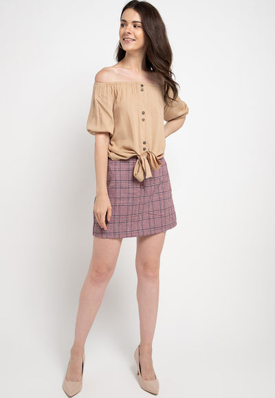 Off Shoulder Knotted Top - Beige