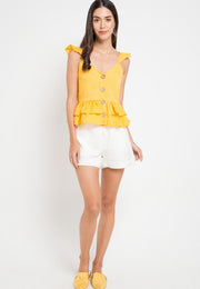 Sleeveless button top