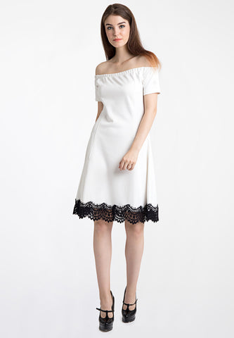 Off Shoulder Dress with Lace - White