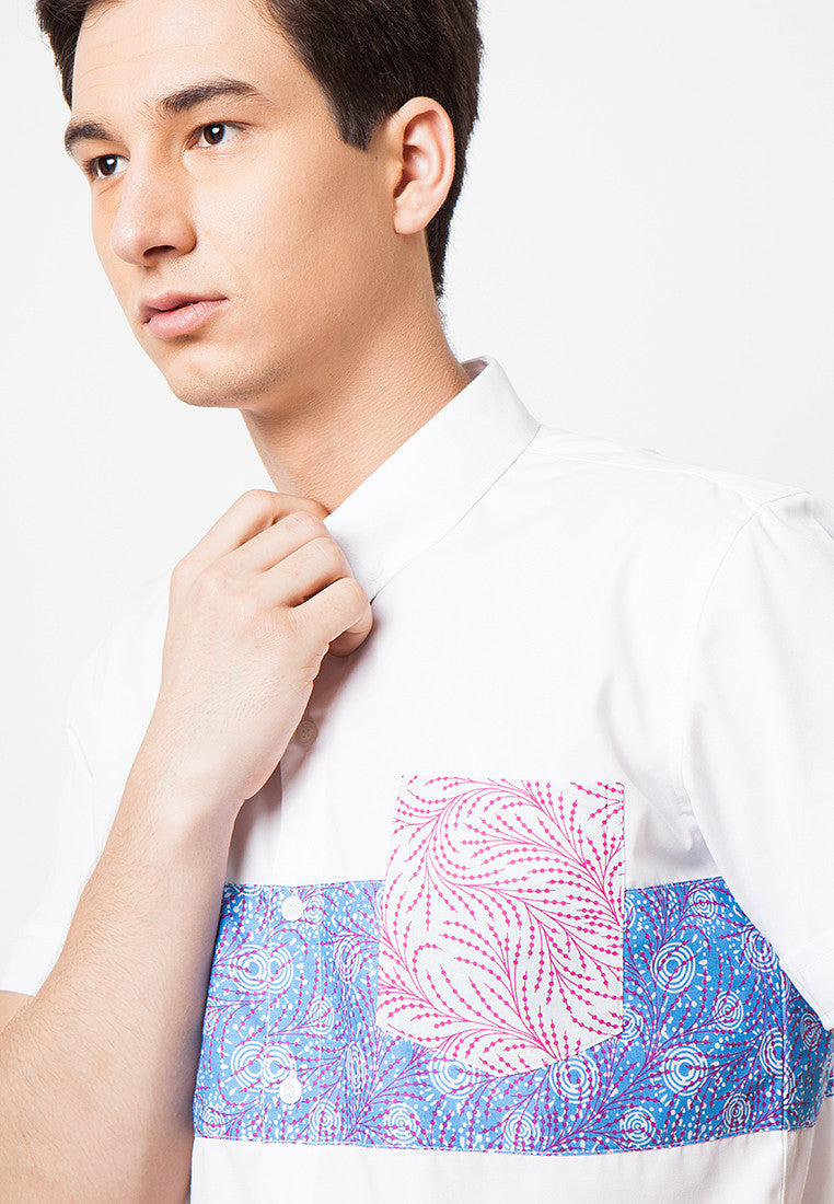 Contrast Batik Top Short Sleeves