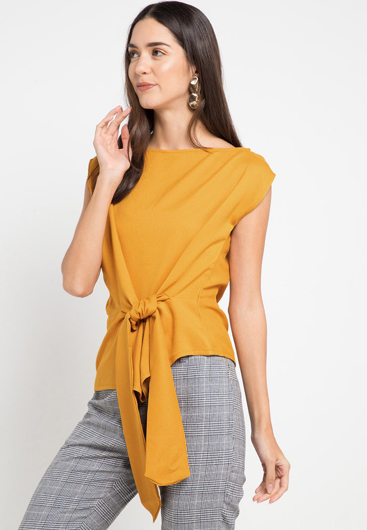 Asymmetric Knotted top - Mustard