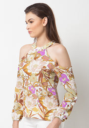 Cold Shoulder Floral Top - Yellow