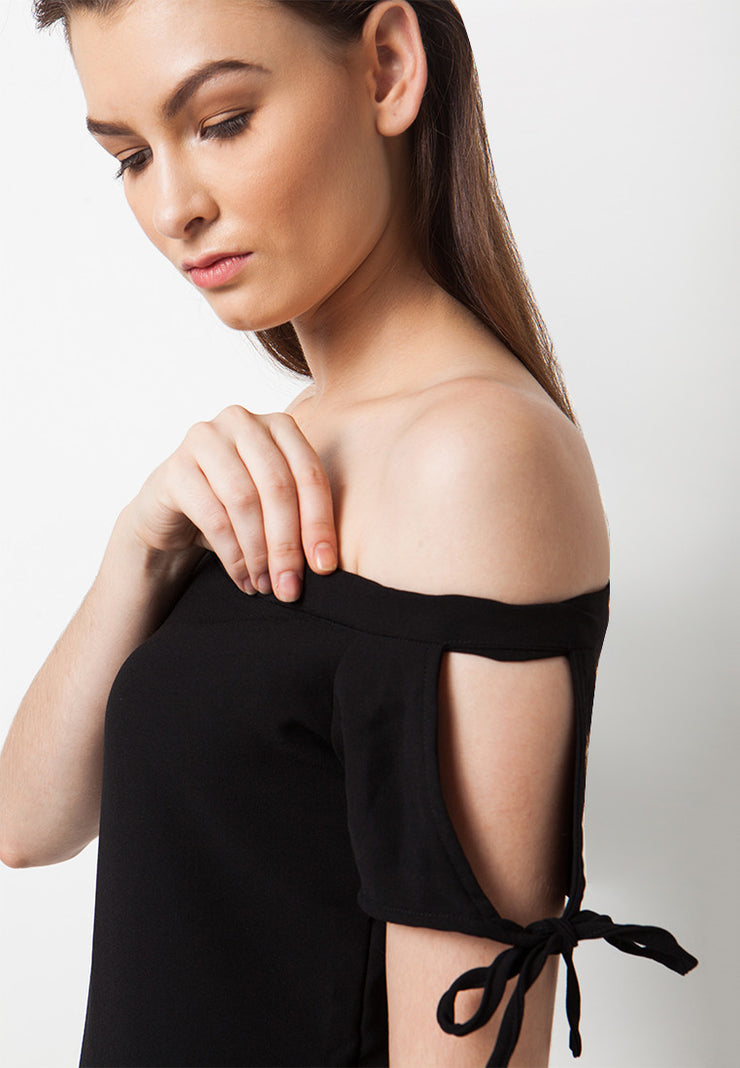 Cut Out Shoulder Dress - Black