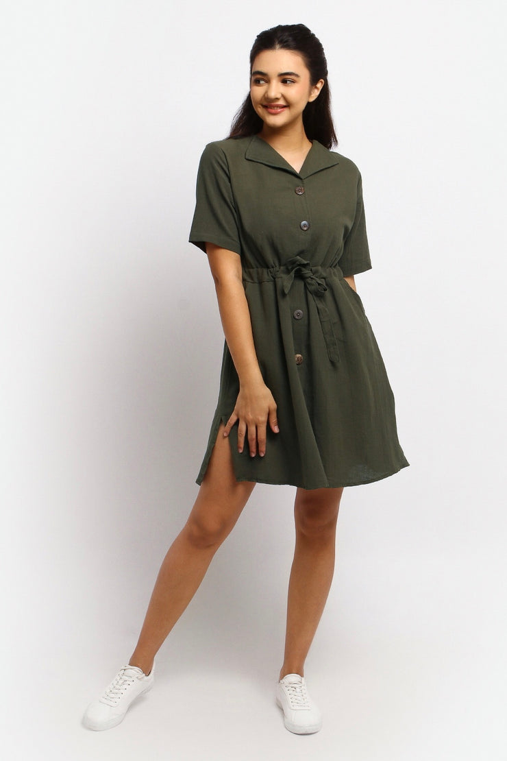 V-neck Hem Dress with Ribbon