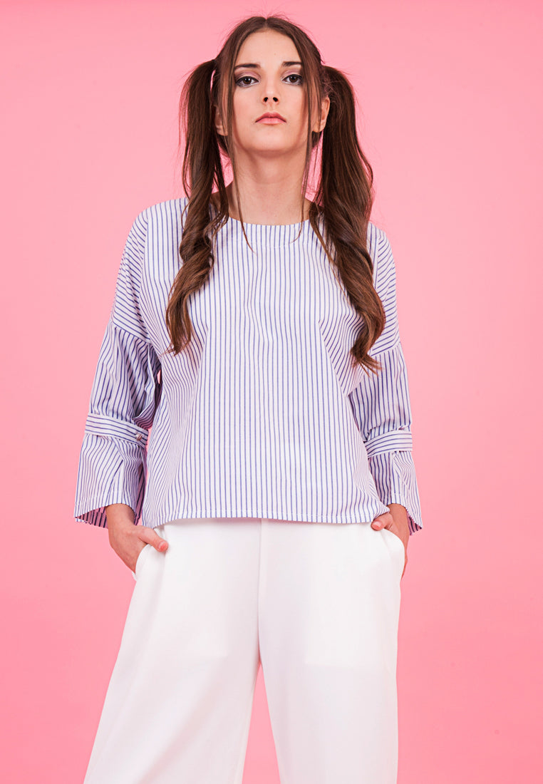 Gal.Nation -Striped Bell Sleeves Top - Blue