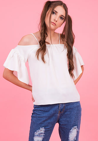 Gal.Nation Off Shoulder Frilled Top - White