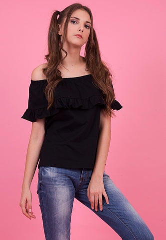Gal.Nation - Off Shoulder Frilled Tee - Black