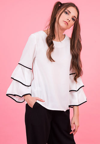 Gal.Nation - Triple Bell Sleeve Top - White