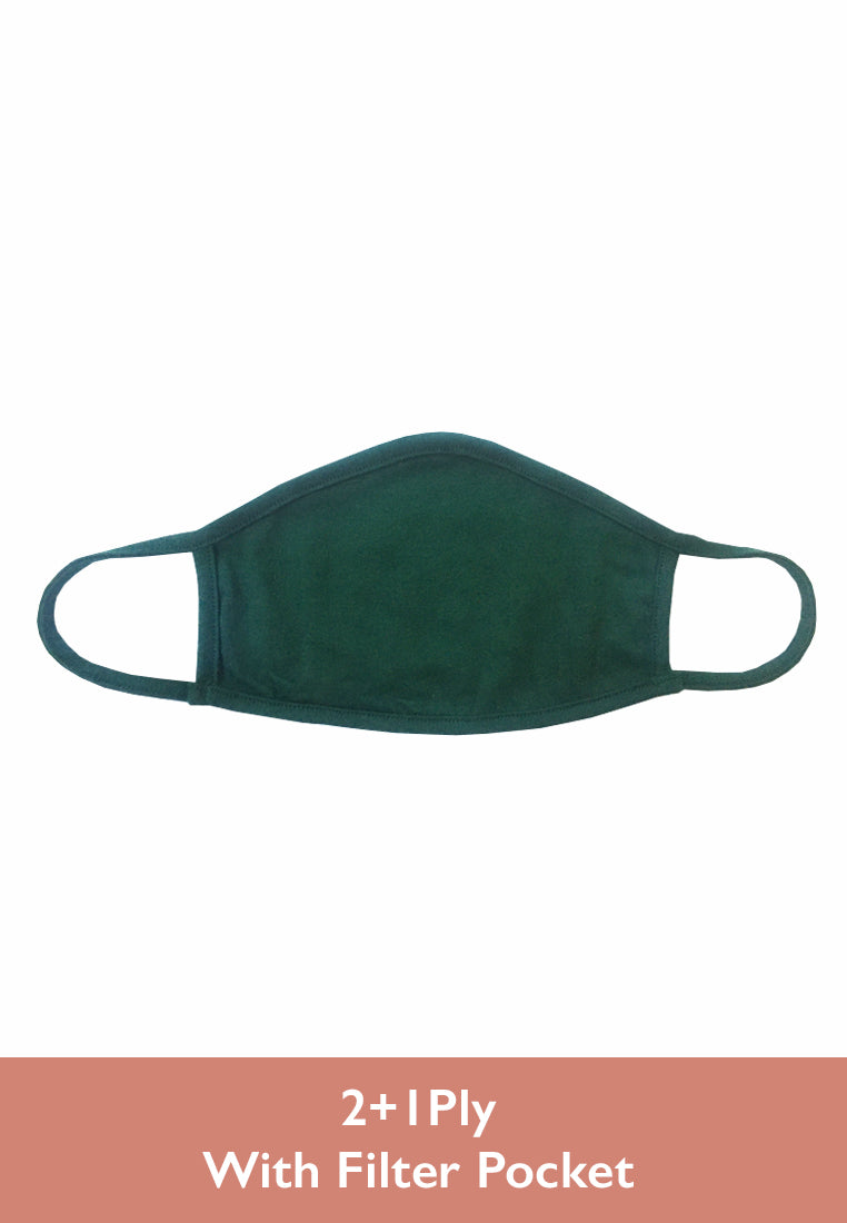 Comfort Face Mask 2+1 Ply ( Filter Pocket ) - Green