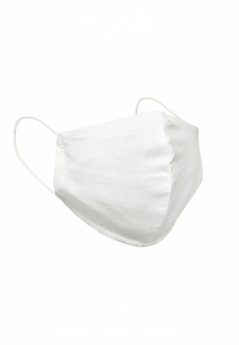 Duck Bill Cotton Face Mask with Filter Pocket - White ( Bundling )