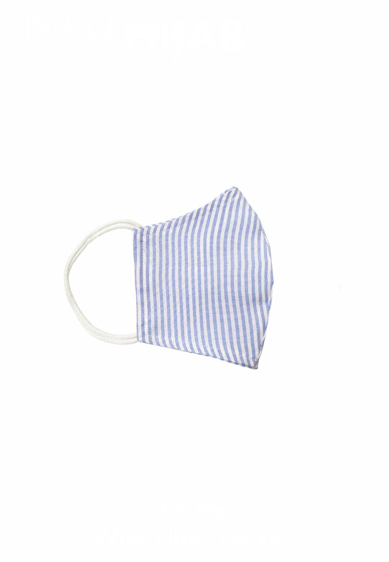 Duck Bill Cotton Face Mask with Filter Pocket - Stripe