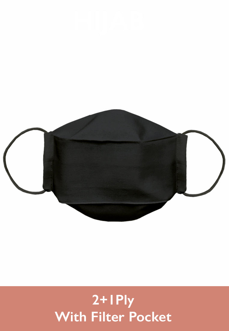 Cotton Face Mask With Filter Pocket - Q95 Black