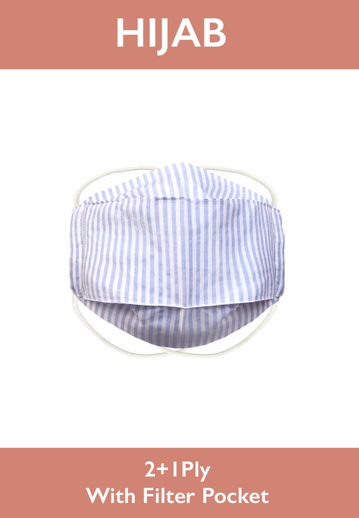 Cotton Face Mask With Filter Pocket - HIJAB - Stripe