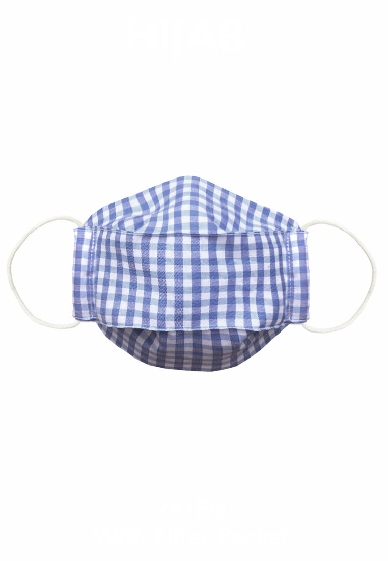 Cotton Face Mask With Filter Pocket - Blue GINGHAM