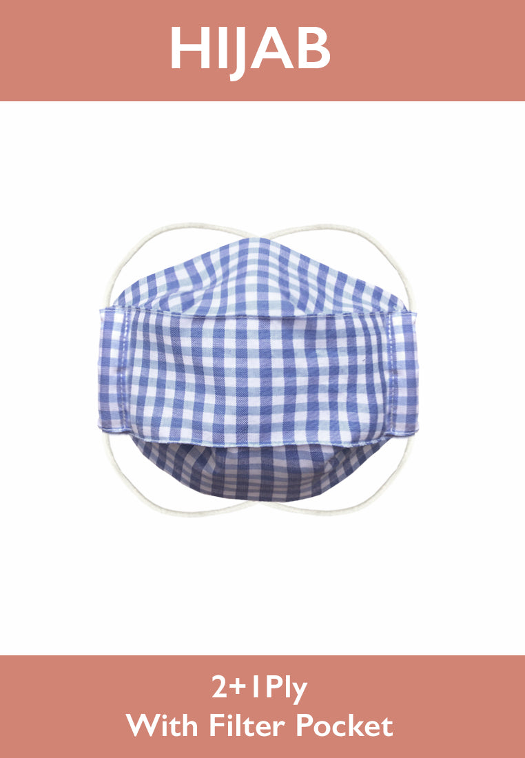 Cotton Face Mask With Filter Pocket - HIJAB - Blue GINGHAM