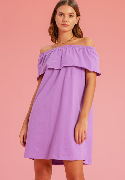 Off Shoulder Frilled Tee - Dress - Lilac