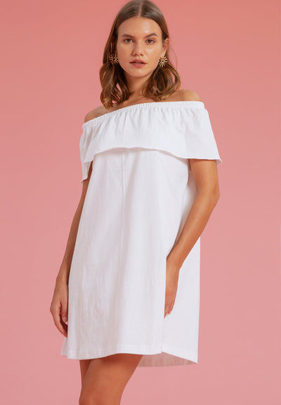 Off Shoulder Frilled Tee - Dress - White