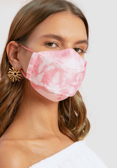 Cotton Face Mask With Filter Pocket - Tie Dye Pink