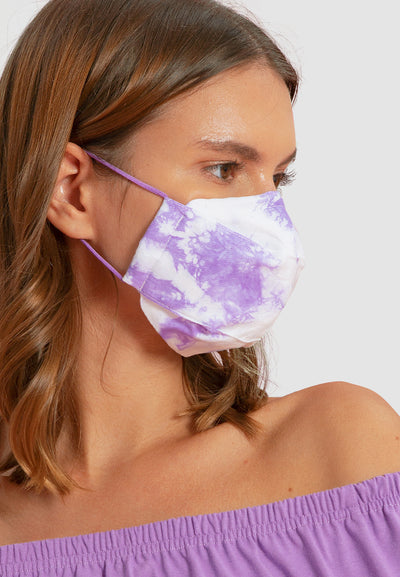 Cotton Face Mask With Filter Pocket - Tie Dye Lilac