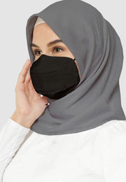 Cotton Face Mask With Filter Pocket - HIJAB - Black