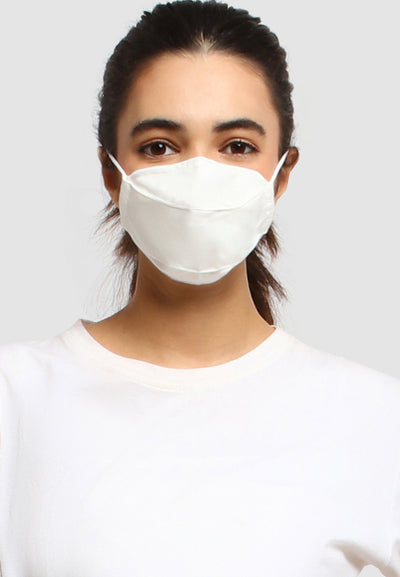 Cotton Face Mask With Filter Pocket - Broken White