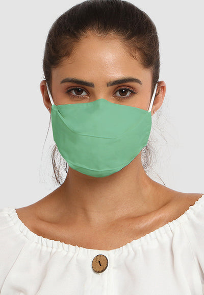 Cotton Face Mask With Filter Pocket - Viridian