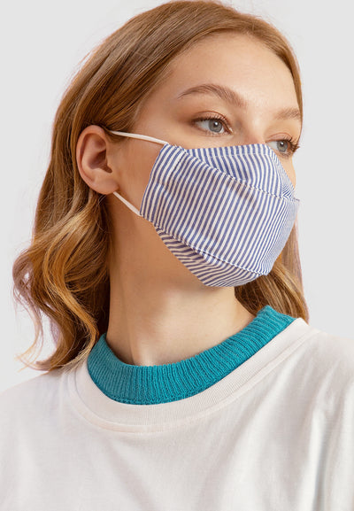 Cotton Face Mask With Filter Pocket - Stripe