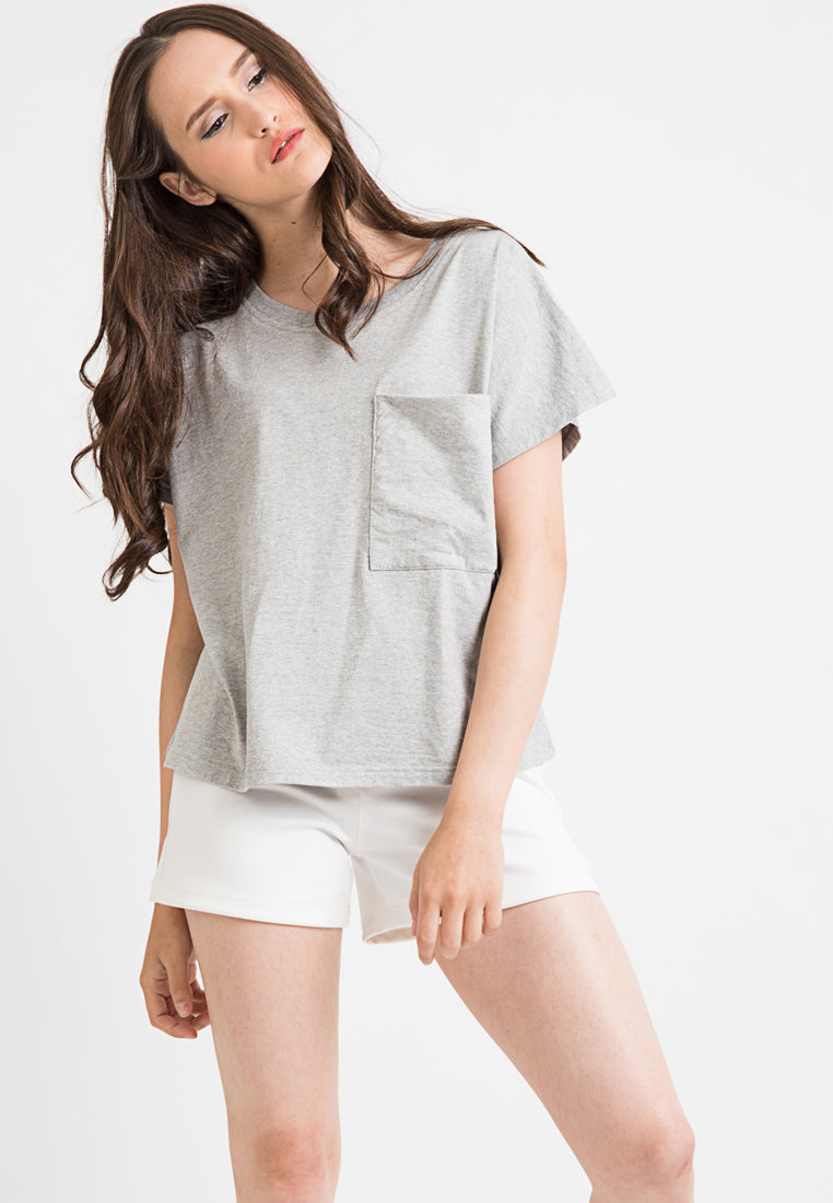 Oversized Tee With Pocket - Grey