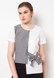 Combination Blouse with Ribbon - Black