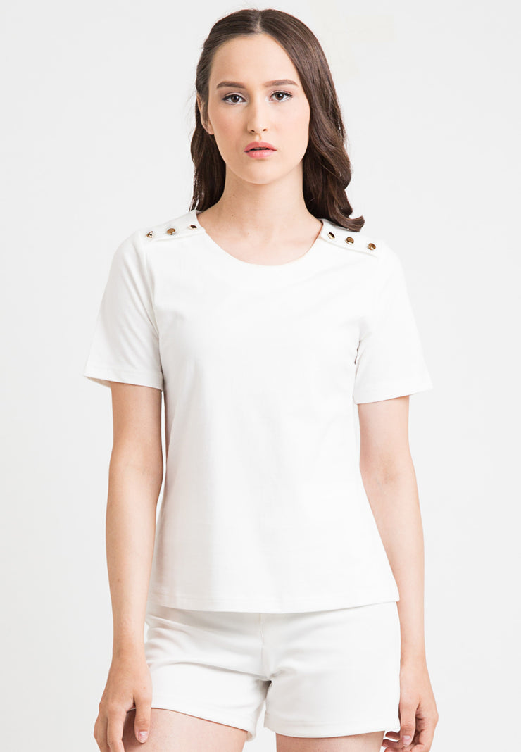 Tee With Button - White