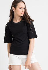 Tee With Detailed Button - Black