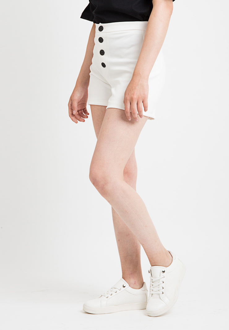 Short With Buttons Detail - White