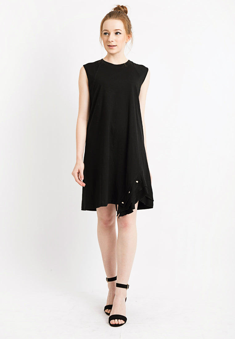 Sleeveless Tee Dress with Frilled Detail - Black