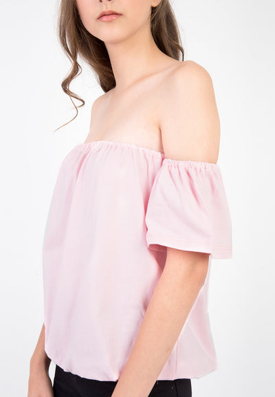 Off shoulder loose Tee - Baby Pink