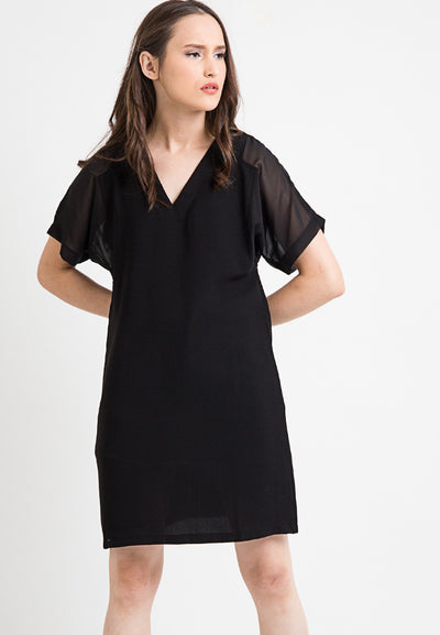 V-Neck Loose Dress - Black