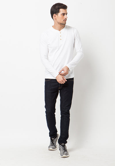 Henley Long Sleeves T-Shirt - White