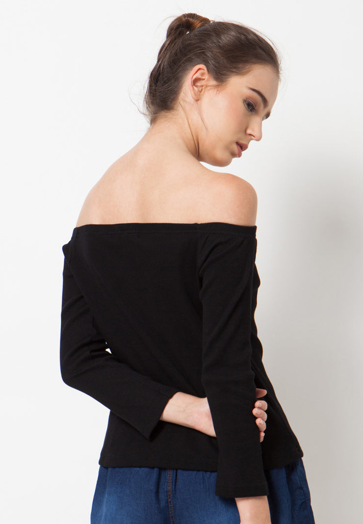 Ribbed Long Sleeves Sabrina - Black