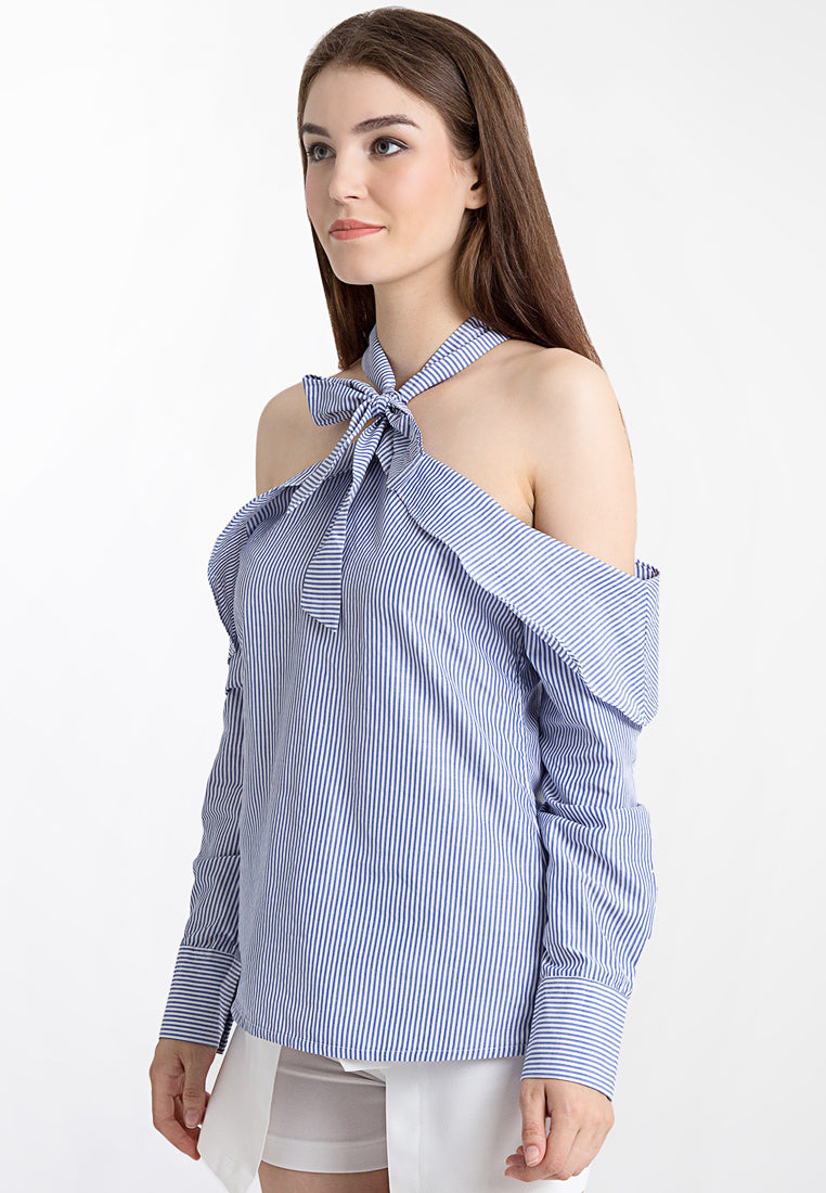 Ribbon Necklace Striped Top - Blue