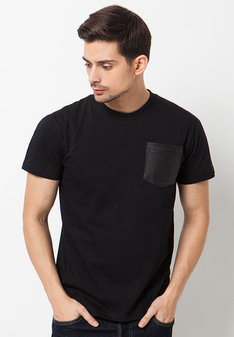 Leather Pocket T-Shirt Black