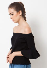 Ribbed Bell Sleeves Sabrina - Black