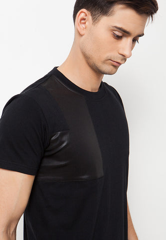 Leather Patch T-Shirt - Black