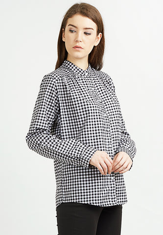 Gingham Mandarin Collar Shirt - Black