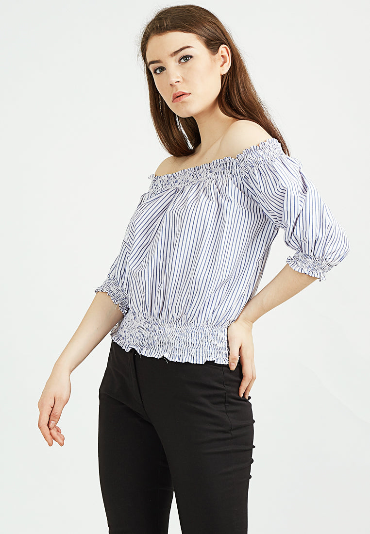 Off Shoulder Stripped Top - Blue