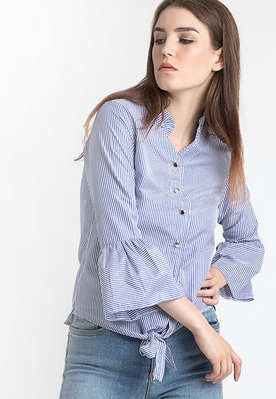 Mandarin Collar Striped Shirt - Blue