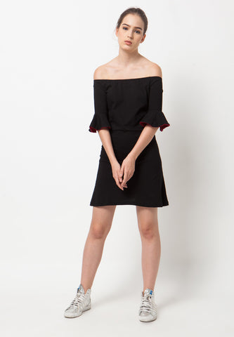 Sabrina Bell Sleeves T-Shirt Dress - Black