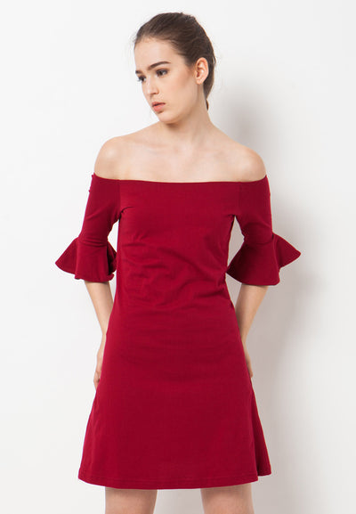 Sabrina Bell Sleeves T-Shirt Dress - Red