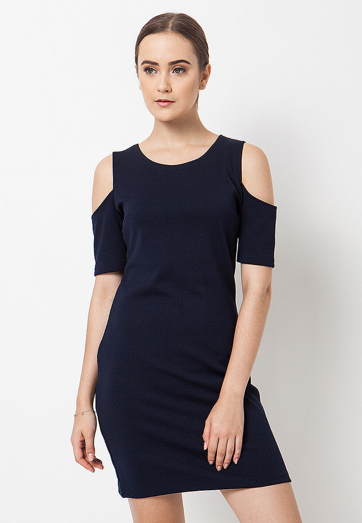 Cold Shoulder Dress - Navy