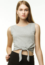 Knotted Crop tank - Grey