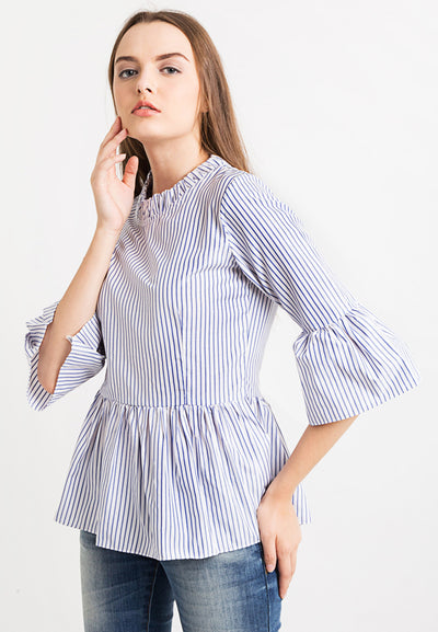 Bell Sleeve With Frilled  Detail - Striped